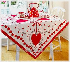 vintage valentine tablecloth Because it looks like a giant handkerchief. and look at the red polka dot tea kettle