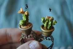 Adjustable ring cactus in a pot Orange flower by Sifakacreations