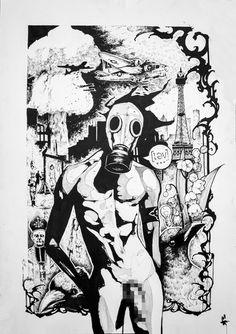 """Artwork by Niko Inko """"Premier mai"""" Rotring and ink on paper. #nikoinko #niko #inko #nikoinko #tattoo #tatouage #artist #art #tatoueur #artist #black #rotring #paper #war #nude #plane #atomic #bomb #may #perpignan #graphic #graphique"""