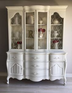 Reloved French Provincial China Cabinet Chalk Painted Located
