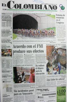 Primera página del periódico El Colombiano del 22 de octubre del 2002.