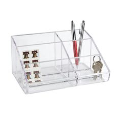 6-Section Acrylic Desktop Organizer  8.25x6.25x4.25h . http://www.containerstore.com/shop?productId=10009896&N=&Nao=20&Ntt=acrylic