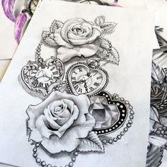 Meaningful Half Sleeve Tattoos For Women Kids Unique Half Sleeve Tattoos, Half Sleeve Tattoos Designs, Tattoo Designs For Women, Half Sleeve Tattoos Drawings, Clock Tattoo Design, Tattoo Design Drawings, Tattoo Clock, Bleistift Tattoo, Clock And Rose Tattoo