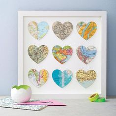 If each map was from a country where we lived diy tableau, map crafts, trav Map Crafts, Frame Crafts, Diy And Crafts, Arts And Crafts, Heart Map, Heart Wall Art, Heart Print, Cuadros Diy, Art Diy