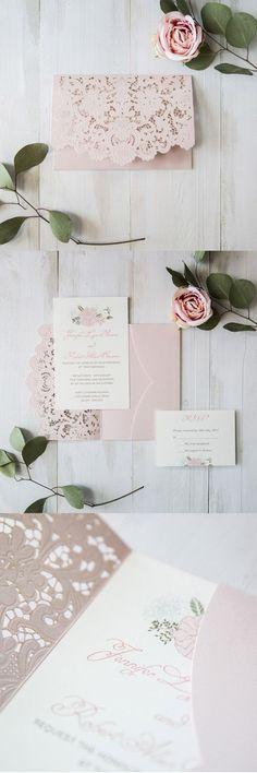 elegant blush pink floral laser cut wedding invitation cards