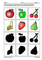 Vendespil/Billedlotteri med silhouetter af 6 frugter