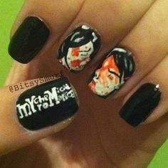 My Chemical Romance Nails Emo Nail Art, Hair And Nails, My Nails, Band Nails, Diy Nail Polish, Cool Nail Designs, Green Day, My Chemical Romance, Cute Nails