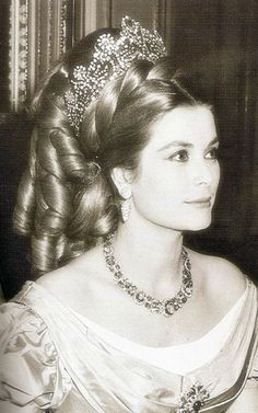 The diamond diadem worn by Empress Joséphine to her coronation in 1804 is worn by Princess Grace of Monaco, wearing it over a century and a half later to a costume ball in 1966.