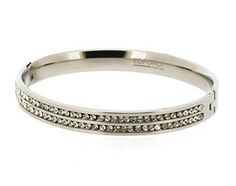 Edforce Stainless Steel Lady's Side Hinge Bracelet with 2 Rows of Stones - 2.65 inch x 2.25 inch x 0.31 inch