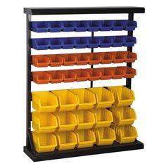 Floor Bin Rack with 47 Bins Check Lego storage organzier - launching soon on Kickstarter .also check out the Lego storage organizer - launching soon on Kickstarter Lego Storage, Tool Storage, Storage Rack, Storage Ideas, Nerf Gun Storage, Workshop Storage, Easy Storage, Storage Solutions, Lego Table