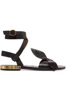 Chloé | Bow-detailed embellished leather sandals | NET-A-PORTER.COM
