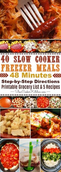 Got 48 minutes? Cook up these 40 meal/5 recipe crock pot freezer meals. Printable grocery list and recipes are included...  https://www.slowcookerkitchen.com/easy-crock-pot-freezer-meals/