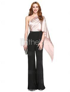 TS Couture® Evento Formal Vestido - Ivanka Estilo / Estilo Celebridade Sereia Mula Manca Longo Charmeuse / Poliéster com Drapeado Lateral de 5418120 2017 por €79.37