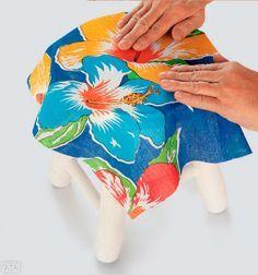 Passo a passo: customize um banquinho com tecido e tinta - Casa