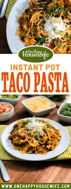 This irresistible Instant Pot Taco Pasta is a quick and easy one-pot meal that you'll want to add to your regular dinner rotation. This Instant Pot recipe uses a few simple ingredients and is loaded with taco flavor. Serve with your favorite taco toppings like sour cream, pico, shredded cheese, and cilantro. From Valerie @ One Happy Housewife - onehappyhousewife.com #instantpot #tacopasta #instantpotpasta #instantpotrecipes #easyinstantpotrecipes via @onehappyhousewife