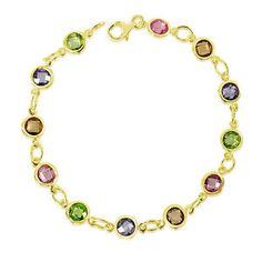 7-Sterling-Silver-Bezel-Set-Coin-Shape-Round-6mm-Multi-Color-CZ-Bracelet