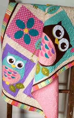 Hey, I found this really awesome Etsy listing at http://www.etsy.com/listing/163368108/girl-baby-quilt-what-a-hoot-modern-baby