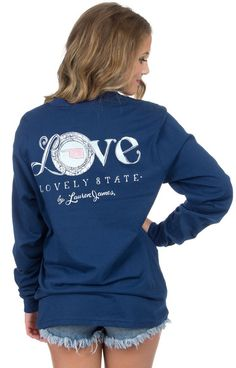 Navy - Oklahoma Love Tee - Long Sleeve Back