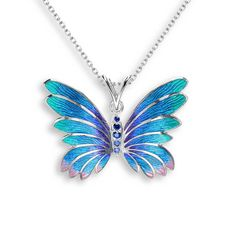 Blue Sapphires Butterfly Necklace 18 Inch - SS Nicole Barr Nicole Barr Blue Sapphires Butterfly Necklace - Sterling Silver 18 InchVitreous Enamel on Sterling Silver Butterfly Necklace-Blue Blue Sapphires Rhodium Plated for easy careSize: Butterfly Jewelry, Butterfly Necklace, Blue Butterfly, Cute Necklace, Locket Necklace, Pendant Necklace, Necklaces, Cute Jewelry, Chain Jewelry