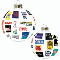 Trim your tree in classy Broadway style with this exclusive white glass ornament which features the logos of more than 20 Broadway musicals. $20
