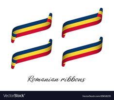 Set of four modern colored romanian ribbons vector image on VectorStock Modern Colors, Romania, Ribbons, Adobe Illustrator, Vector Free, Manual, Flag, Bias Tape, Textbook
