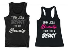 365 In Love His and Her Matching Tank Tops Look Like A Beauty Train Like A Beast, Train Like A Beast For My Beauty Couples Sleeveless Tops by 365 in love