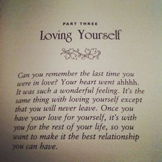 Love thy self immensely
