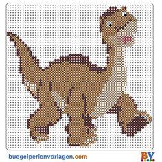 dinosaurio con hama beads, hama mini, perler, etc