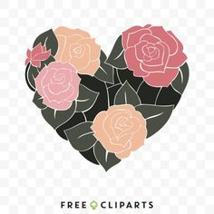 Free Floral Heart clip art Heart Clip Art, Graphic Design, My Favorite Things, Floral, Creative, Free, Florals, Flowers, Flower