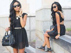 Black Cut Out Dress, 3.1 Phillip Lim Black Purse, Zara Black Studded Boots, Black Geometric Sunnies