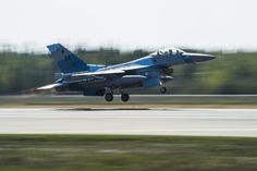 U.S. Air Force F-16 Fighting Falcon assigned to the 18th Aggressor Squadron takes off during RED FLAG-Alaska 14-1 May 12, 2014, Eielson Air Force Base, Alaska. Aggressor pilots act as opposing forces in RF-A to prepare U.S. and allied forces for real-world aerial combat. (U.S. Air Force photo by Senior Airman Joshua Turner/Released)