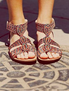 Free people, summer sandals, colorful.