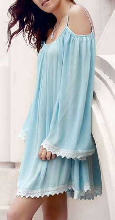Blue off-shoulder lace-edged dress