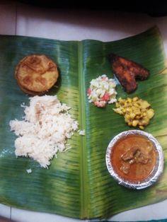 Traditional Maharashtrian Non Veg Meal on a Banana Leaf