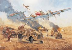 Iraq 1941 - the Luftwaffe attack on Kingcol, 17 May 1941 Luftwaffe, Military Art, Military History, Afrika Corps, North African Campaign, Military Drawings, Air Fighter, War Thunder, Airplane Art