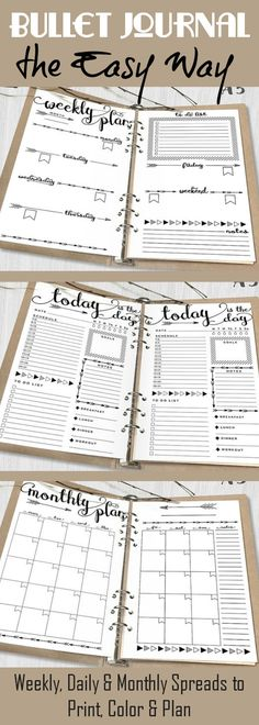 Creative Organization Made Easy: Printable Bullet Journal Daily, Weekly & Monthly Spreads ~ Arrows Bujo Weekly Log, monthly log and daily log pages ~ A5 digital planner pages ~ organizer instant download #affiliate #bulletjournalcollection #bulletjournalweeklylog #planneraddict