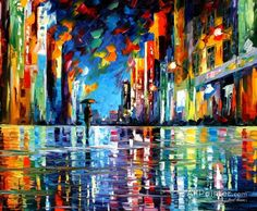 Leonid Afremov Reflections Of The Blue Rain oil painting reproductions for sale