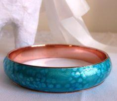 MATISSE enamel on copper sea blue cuff by cherrylippedroses, $125.00