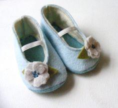 Cornflower Lined Baby Girl Felt Booties by ShesSoCraftyGoods1