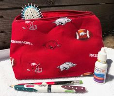 Arkansas Razorback Cosmetic Bag by FurryLivesMatter on Etsy University Of Arkansas, Best Flats, Arkansas Razorbacks, Animal Shelter, Cosmetic Bag, Etsy Shop, Cosmetics, Red, Bags