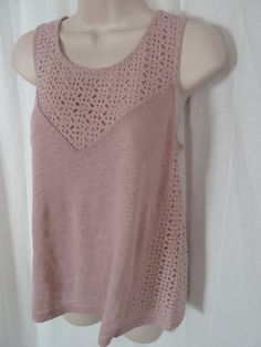 J CREW New Pink Blouse S Doily Trim Scoop Neck Sleeveless Tank Top NWT