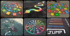 Imagination Excercise for kids Playground Painting, Playground Games, Playground Flooring, Outdoor Playground, Outdoor School, Outdoor Classroom, Kindergarten Design, School Murals, Hopscotch