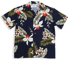95ef1ea3 $29.95 Boy Rayon Navy Hawaiian Shirt - Hanapepe : Shaka Time Hawaii  Clothing Store Boys Hawaiian