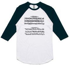 theIndie Gothic Calligraphy Alphabet (Black) 3/4-Sleeve Raglan Baseball T-Shirt