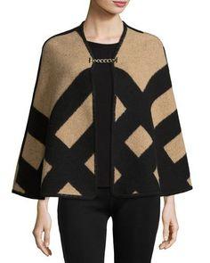 D2V80 Burberry Check Wool-Blend Blanket Poncho, Camel