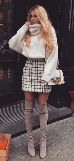Beste Fall-Outfit-Idee mit einem Tweed-Rock - Dress up - Mode Rock Outfits, Cute Fall Outfits, Fall Winter Outfits, Outfits For Teens, Casual Outfits, Dress Winter, Winter Outfits Women 20s, Winter Outfits With Skirts, Casual Winter