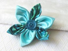 Teal Flower Pin  Fabric Corsage  Floral Accessory by yarnawayknits