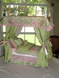 how to make doll bedding | Products - Custom Doll beds for American Doll Beds