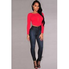 Cheap New Style O Neck Long Sleeves Back Zipper Design Solid Red Blending Short T-shirt_T-shirt_Tops_Womens Clothing_LovelyWholesale | Wholesale Shoes,Wholesale Clothing, Cheap Clothes,Cheap Shoes Online. - LovelyWholesale.com