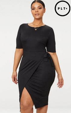 Plus Black Tie Detail Midi Dress. Plus Size Outfits ... b9f94acba109